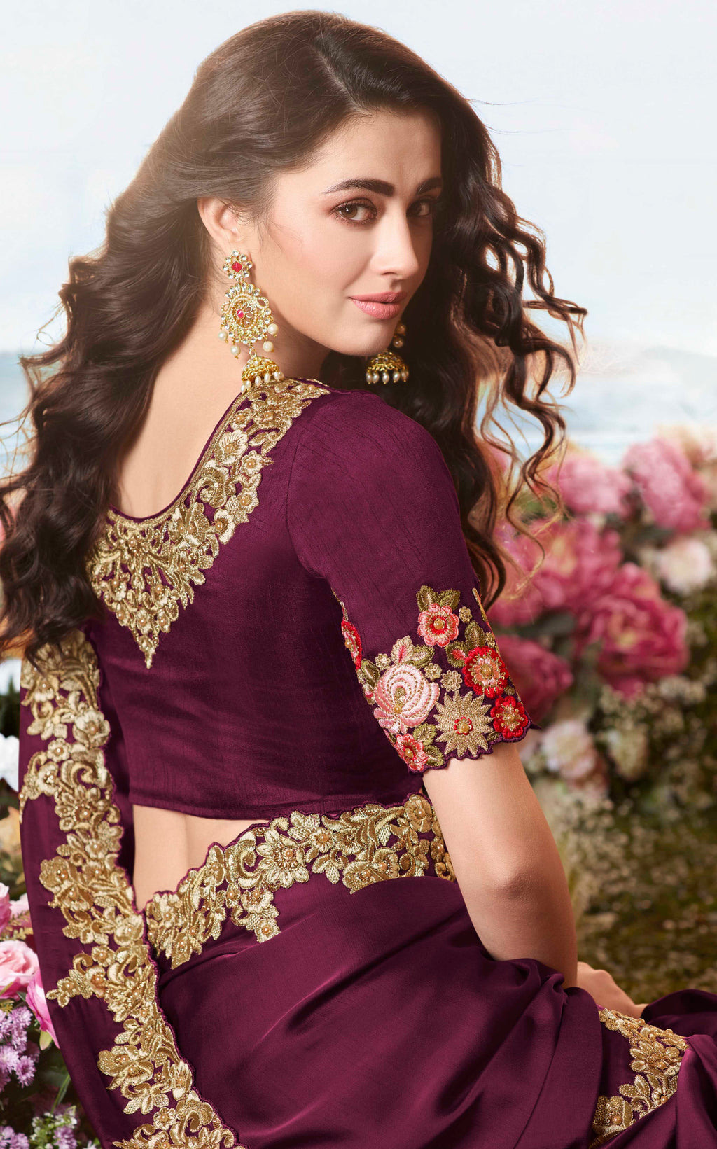 Purple Color Satin Silk Embroidered Wedding Function Sarees NYF-7314