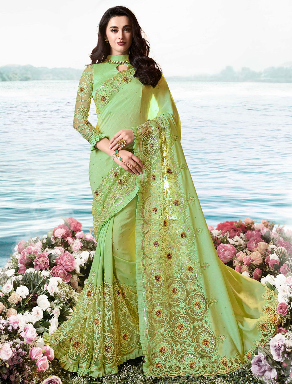 Pastel Green Color Soft Silk Embroidered Wedding Function Sarees NYF-7315