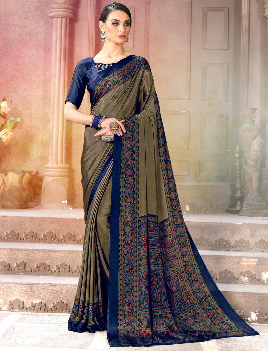 Grey & Blue Color Crepe Soft & Light Weight Printed Sarees NYF-7259