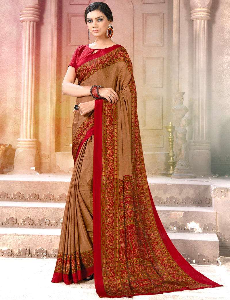 Brown & Red Color Crepe Soft & Light Weight Printed Sarees NYF-7260