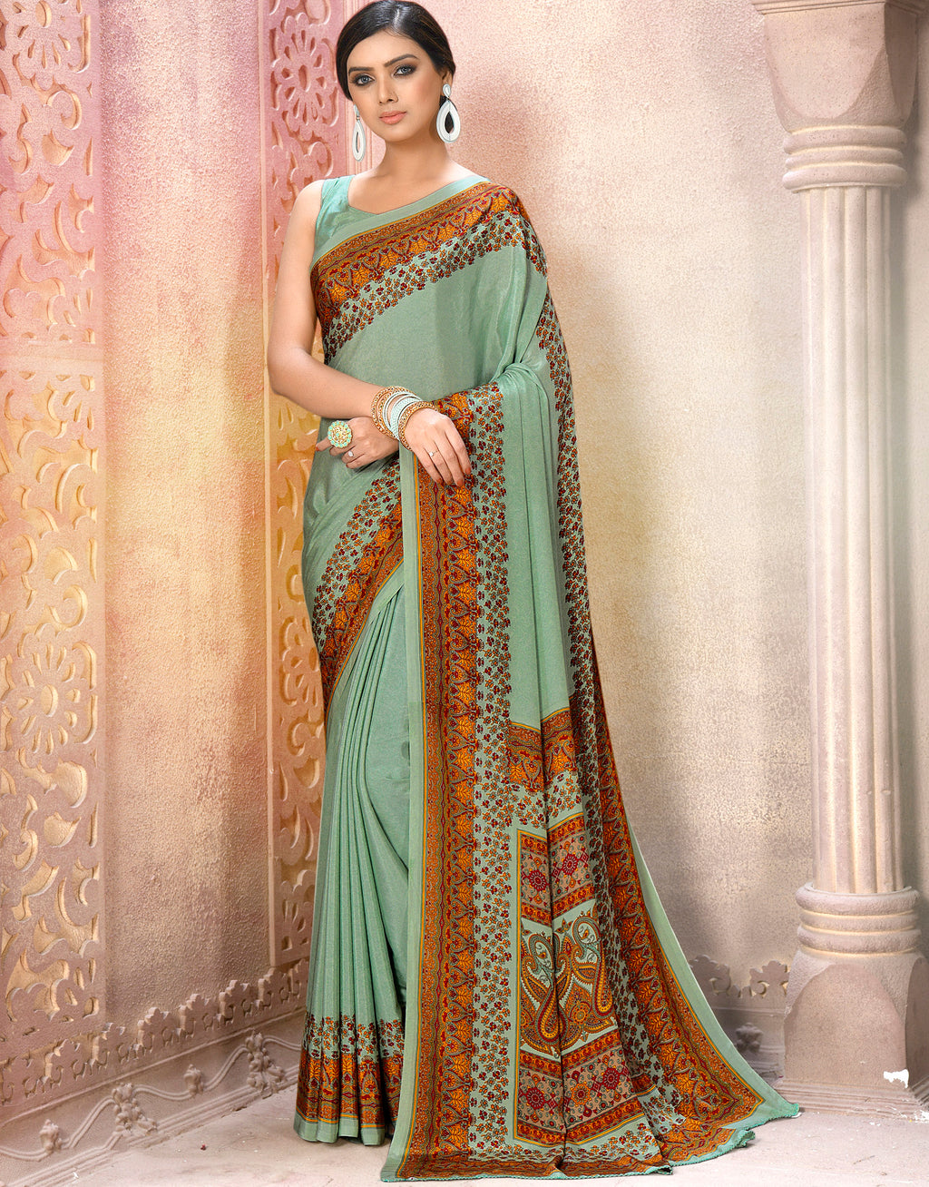Aqua Blue Color Crepe Soft & Light Weight Printed Sarees NYF-7261