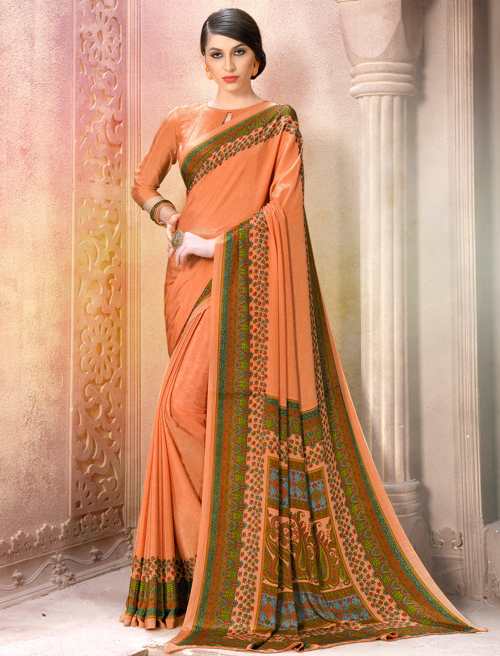 Peach Color Crepe Soft & Light Weight Printed Sarees NYF-7262