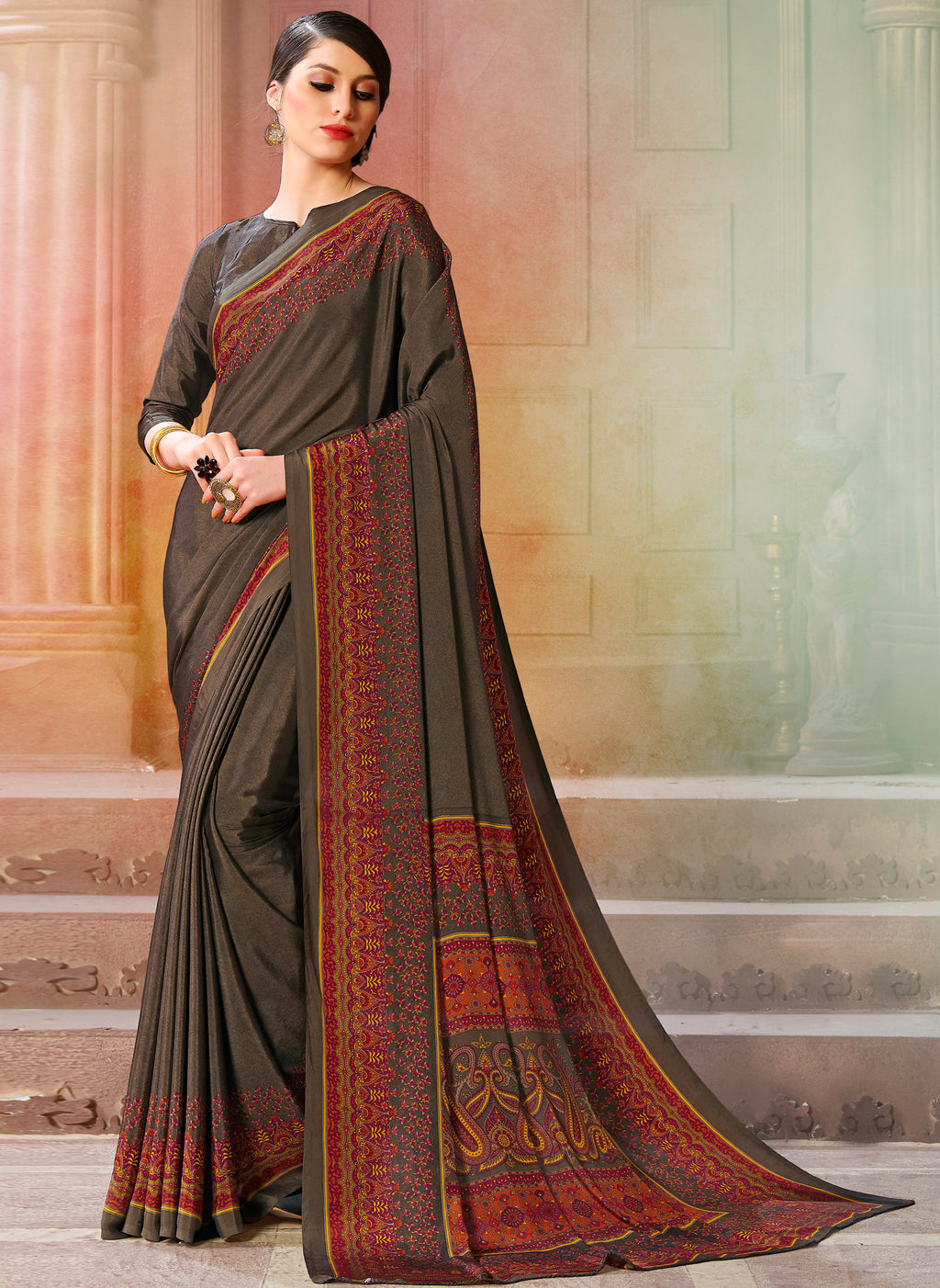 Dark Grey Color Crepe Soft & Light Weight Printed Sarees NYF-7263
