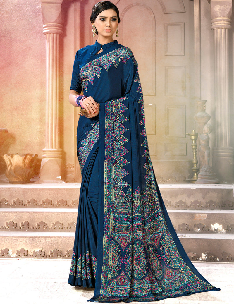 Blue Color Crepe Soft & Light Weight Printed Sarees NYF-7264