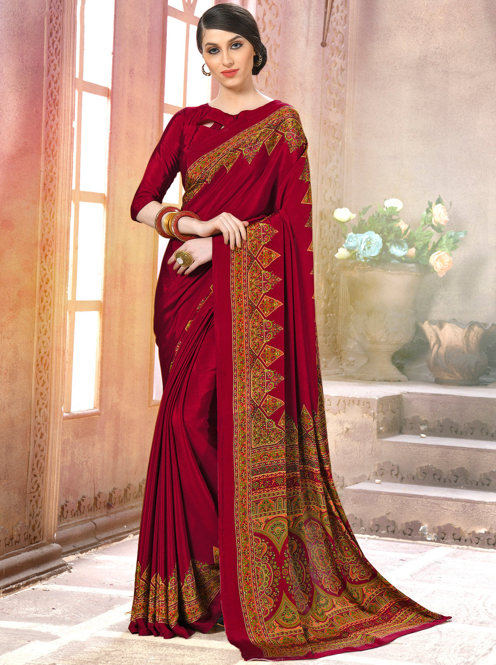 Maroon Color Crepe Soft & Light Weight Printed Sarees NYF-7265