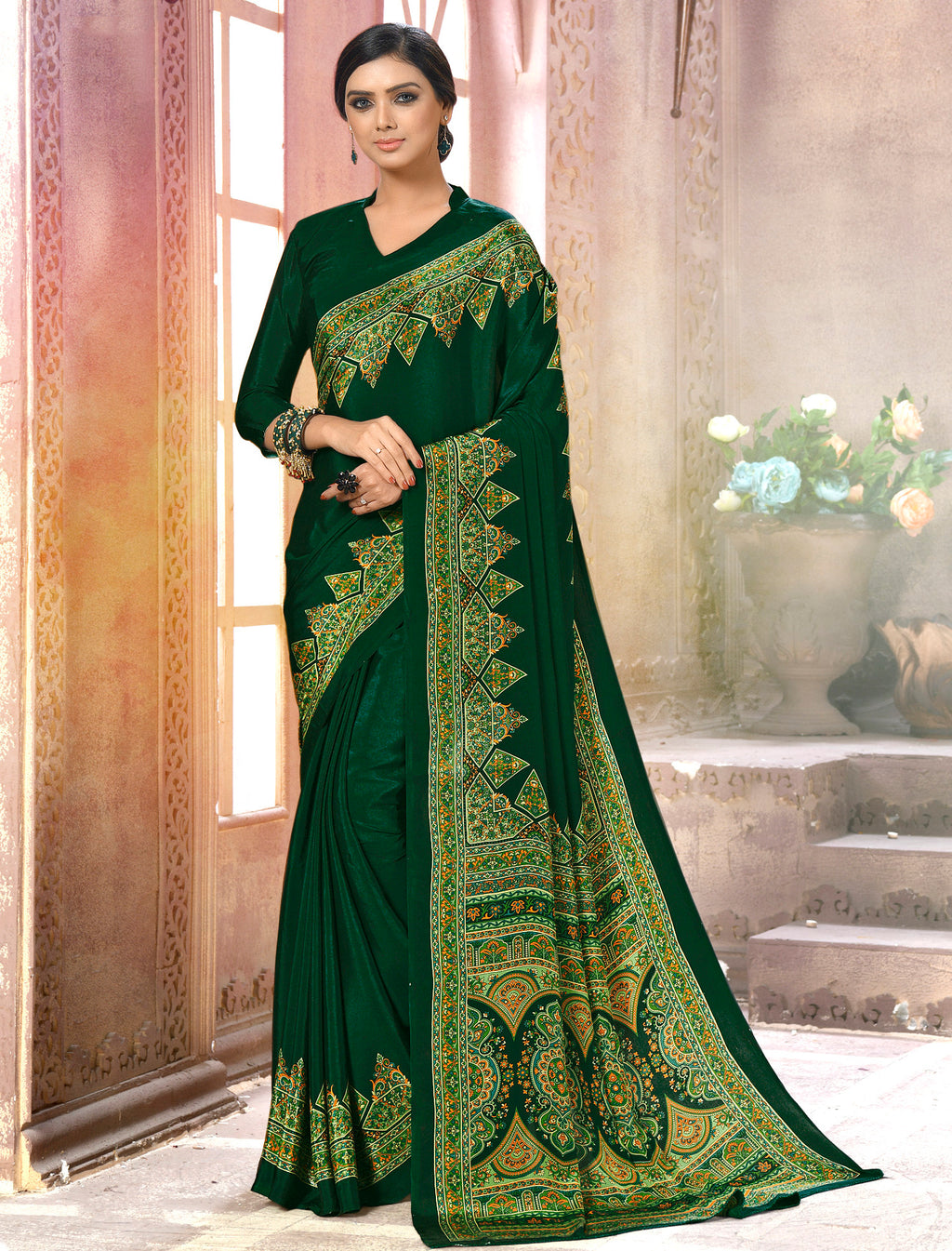 Green Color Crepe Soft & Light Weight Printed Sarees NYF-7266