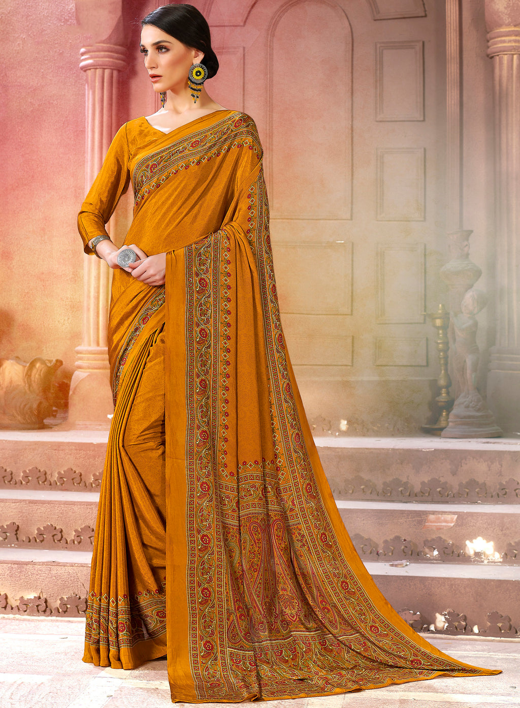 Mustard Yellow Color Crepe Soft & Light Weight Printed Sarees NYF-7267