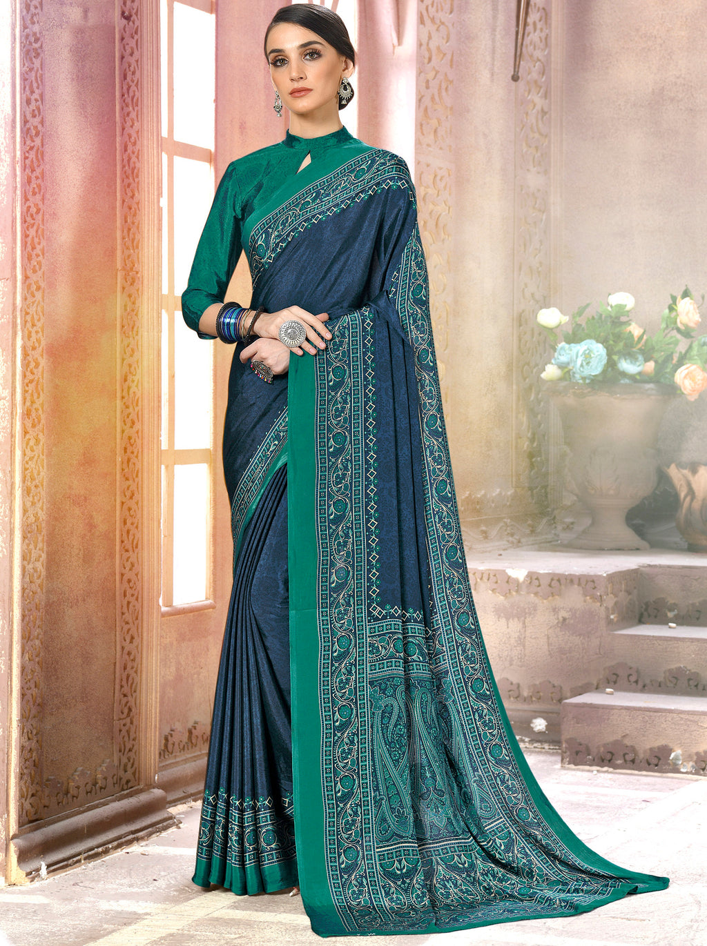 Blue Color Crepe Soft & Light Weight Printed Sarees NYF-7268