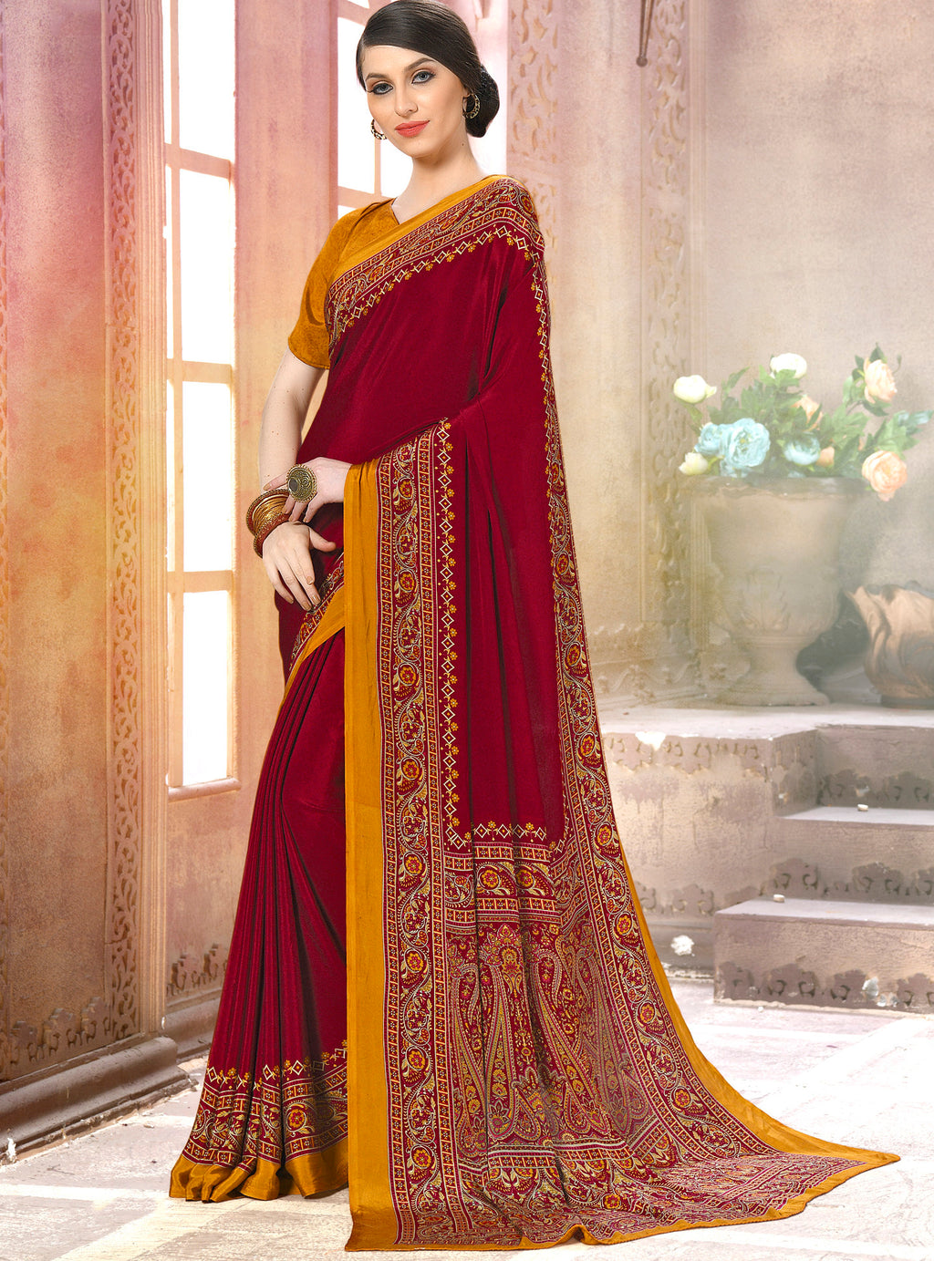 Maroon Color Crepe Soft & Light Weight Printed Sarees NYF-7269