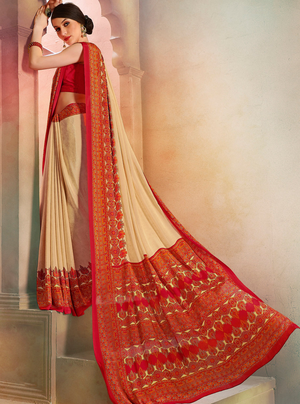 Cream Color Crepe Soft & Light Weight Printed Sarees NYF-7270
