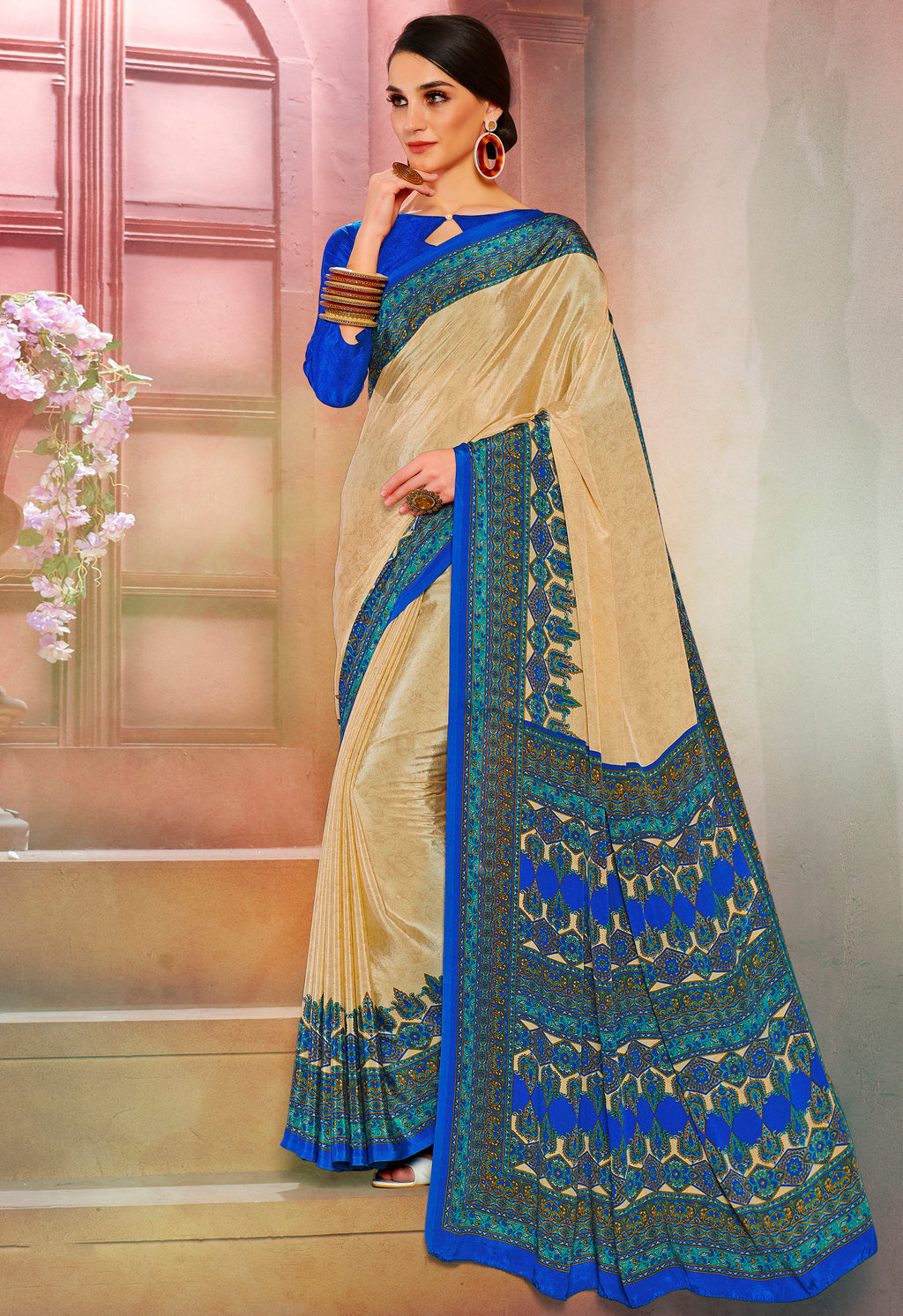 Cream Color Crepe Soft & Light Weight Printed Sarees NYF-7271