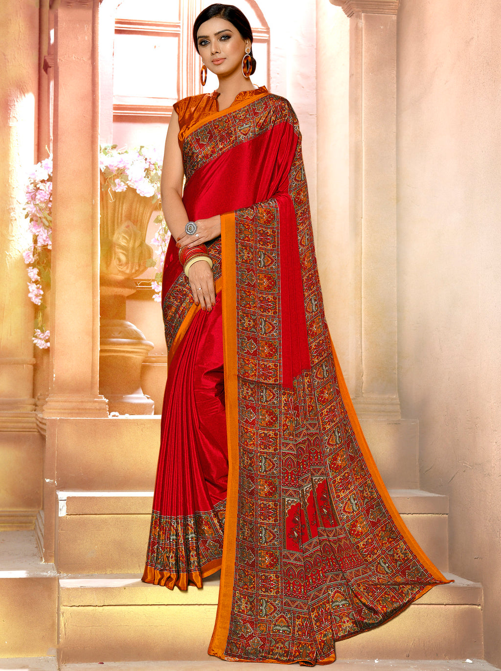 Red Color Crepe Soft & Light Weight Printed Sarees NYF-7273