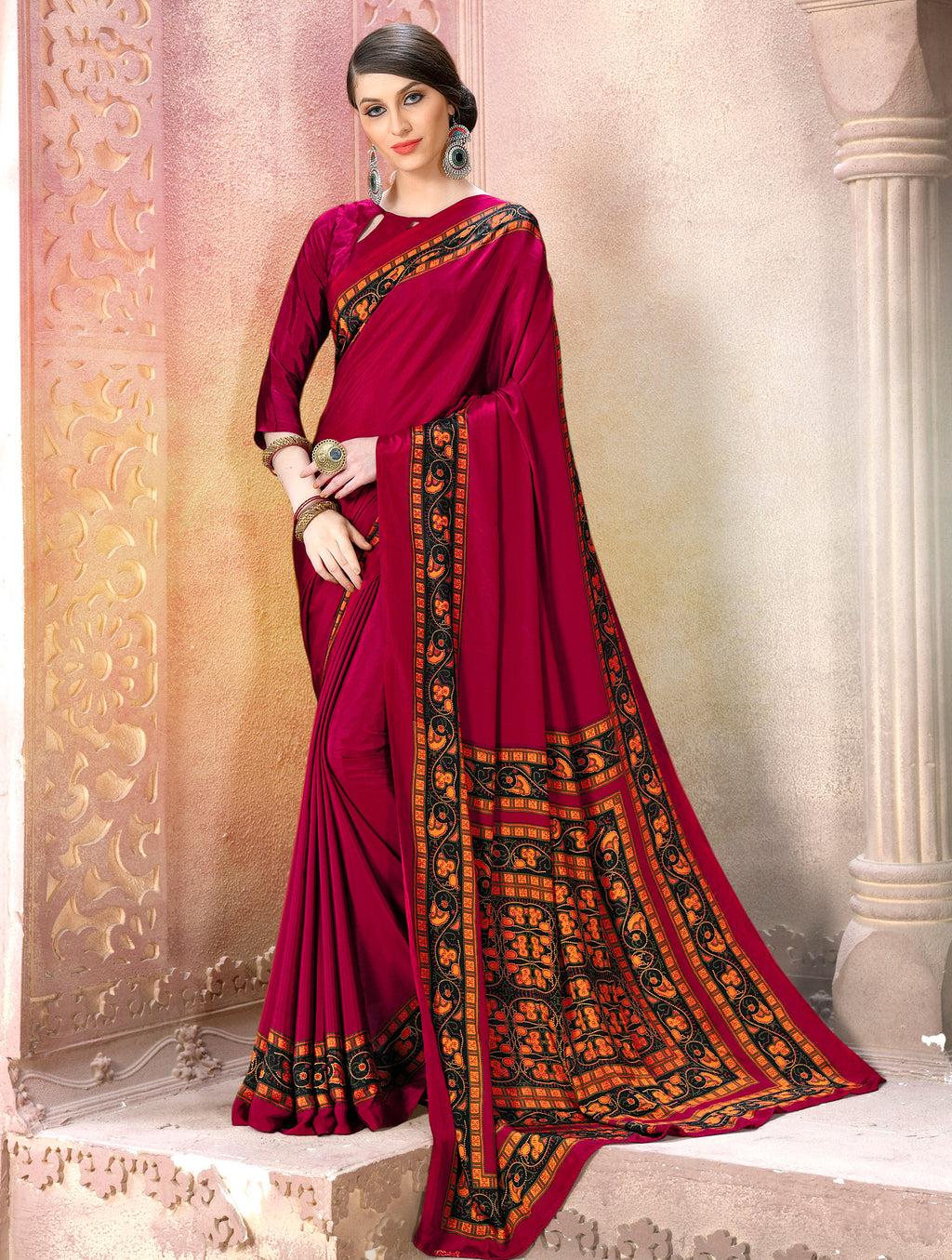 Magenta Color Crepe Soft & Light Weight Printed Sarees NYF-7274