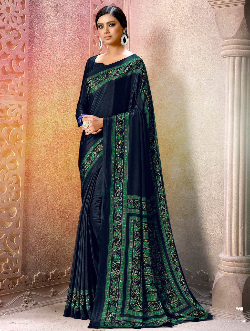 Navy Blue Color Crepe Soft & Light Weight Printed Sarees NYF-7275