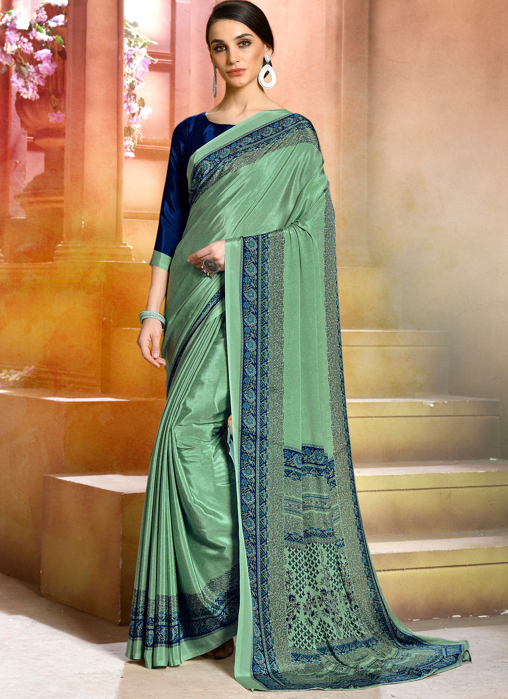 Pastel Green Color Crepe Soft & Light Weight Printed Sarees NYF-7276