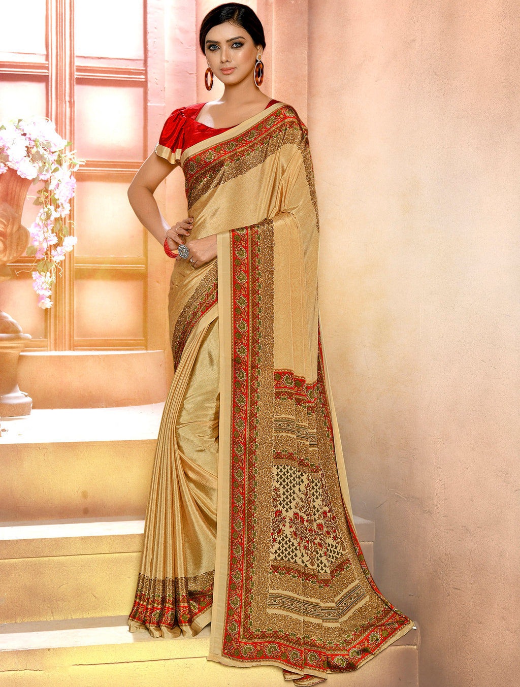 Cream Color Crepe Soft & Light Weight Printed Sarees NYF-7277