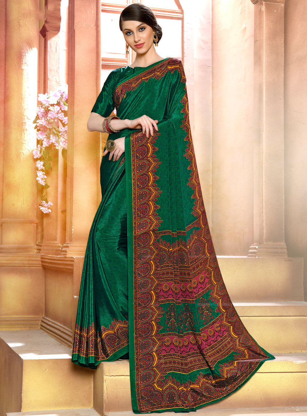 Green Color Crepe Soft & Light Weight Printed Sarees NYF-7278