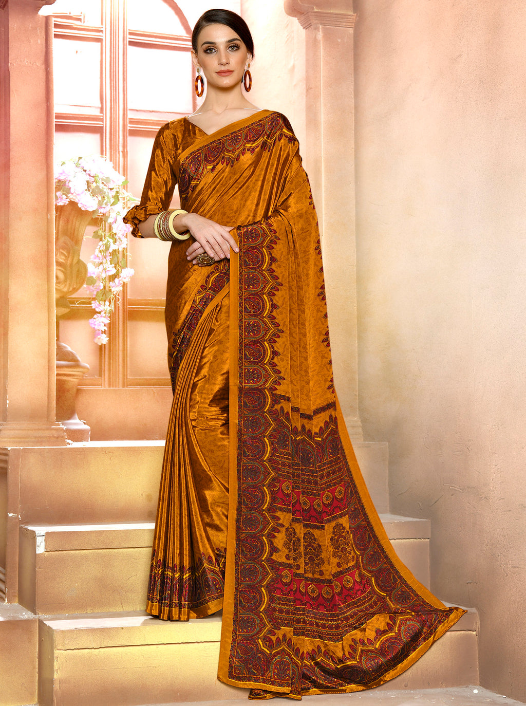 Mustard Yellow Color Crepe Soft & Light Weight Printed Sarees NYF-7279