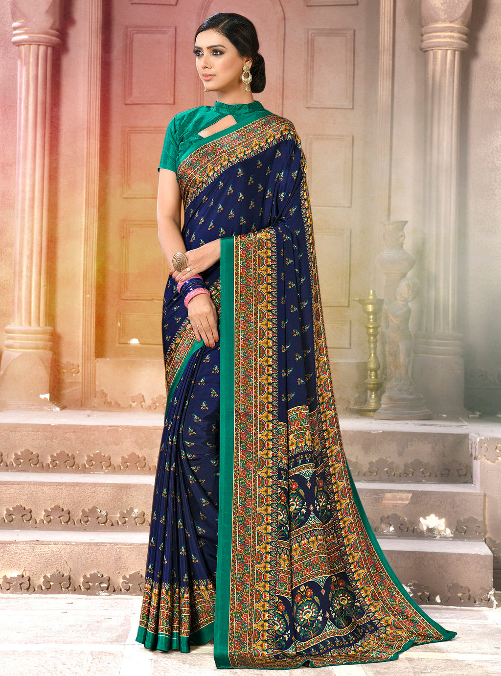 Navy Blue Color Crepe Soft & Light Weight Printed Sarees NYF-7280