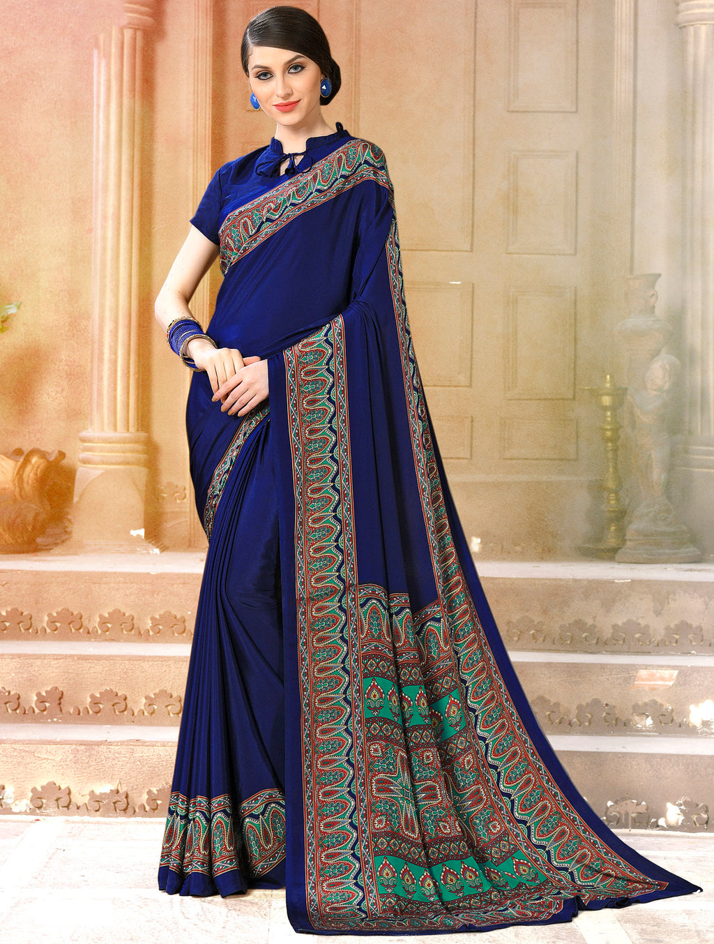 Royal Blue Color Crepe Soft & Light Weight Printed Sarees NYF-7282