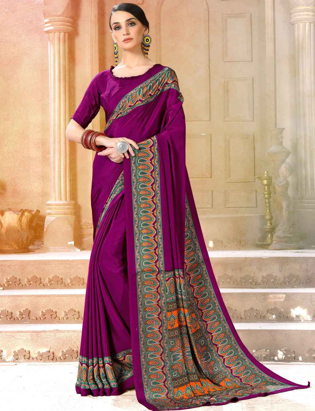 Purple Color Crepe Soft & Light Weight Printed Sarees NYF-7283