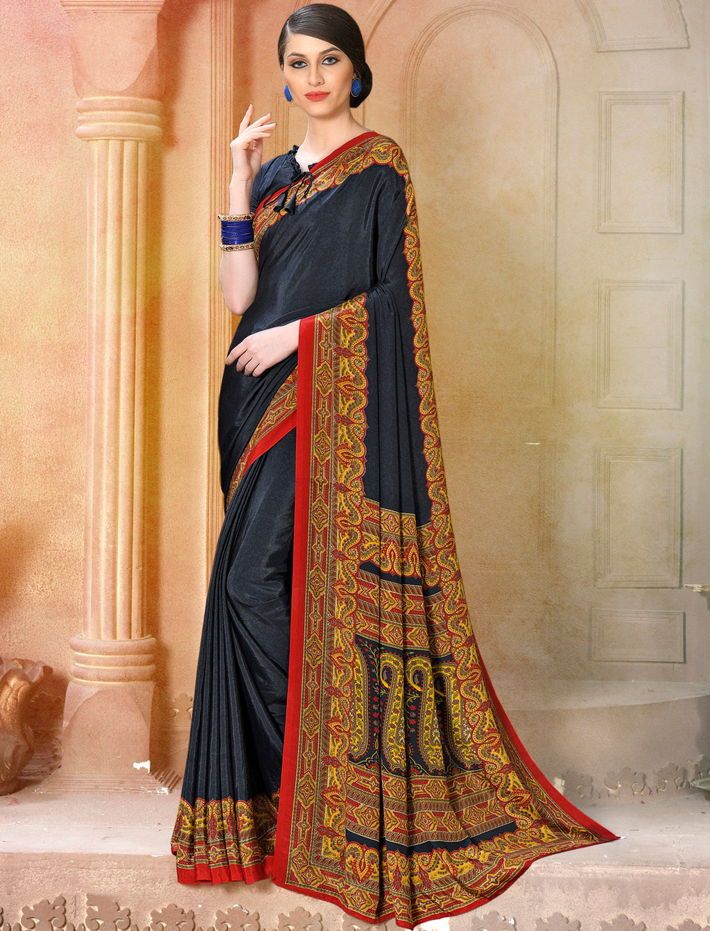 Dark Grey Color Crepe Soft & Light Weight Printed Sarees NYF-7287