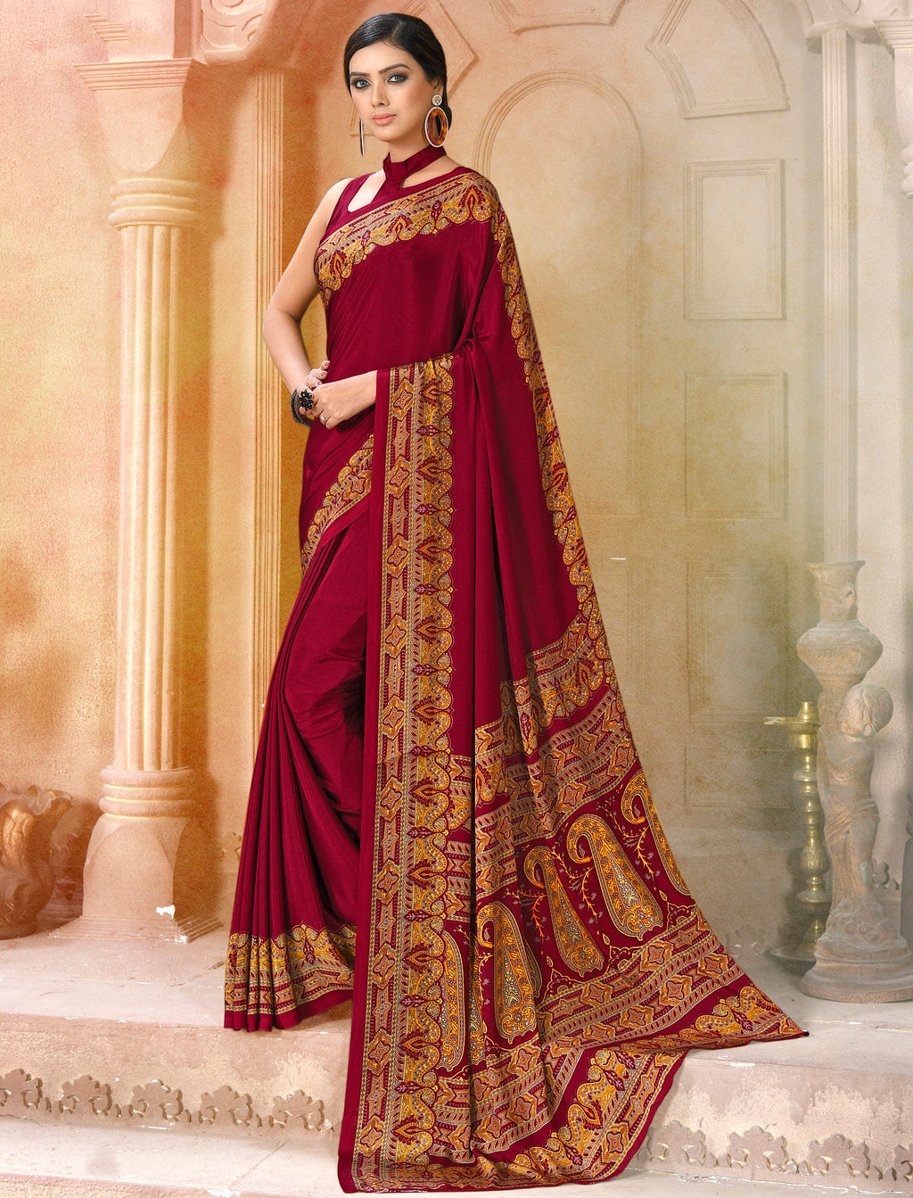 Maroon Color Crepe Soft & Light Weight Printed Sarees NYF-7288