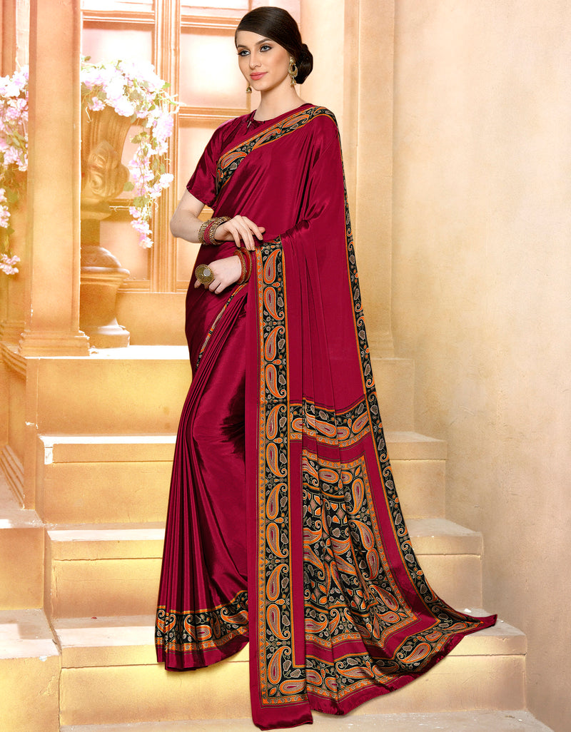 Maroon Color Crepe Soft & Light Weight Printed Sarees NYF-7289