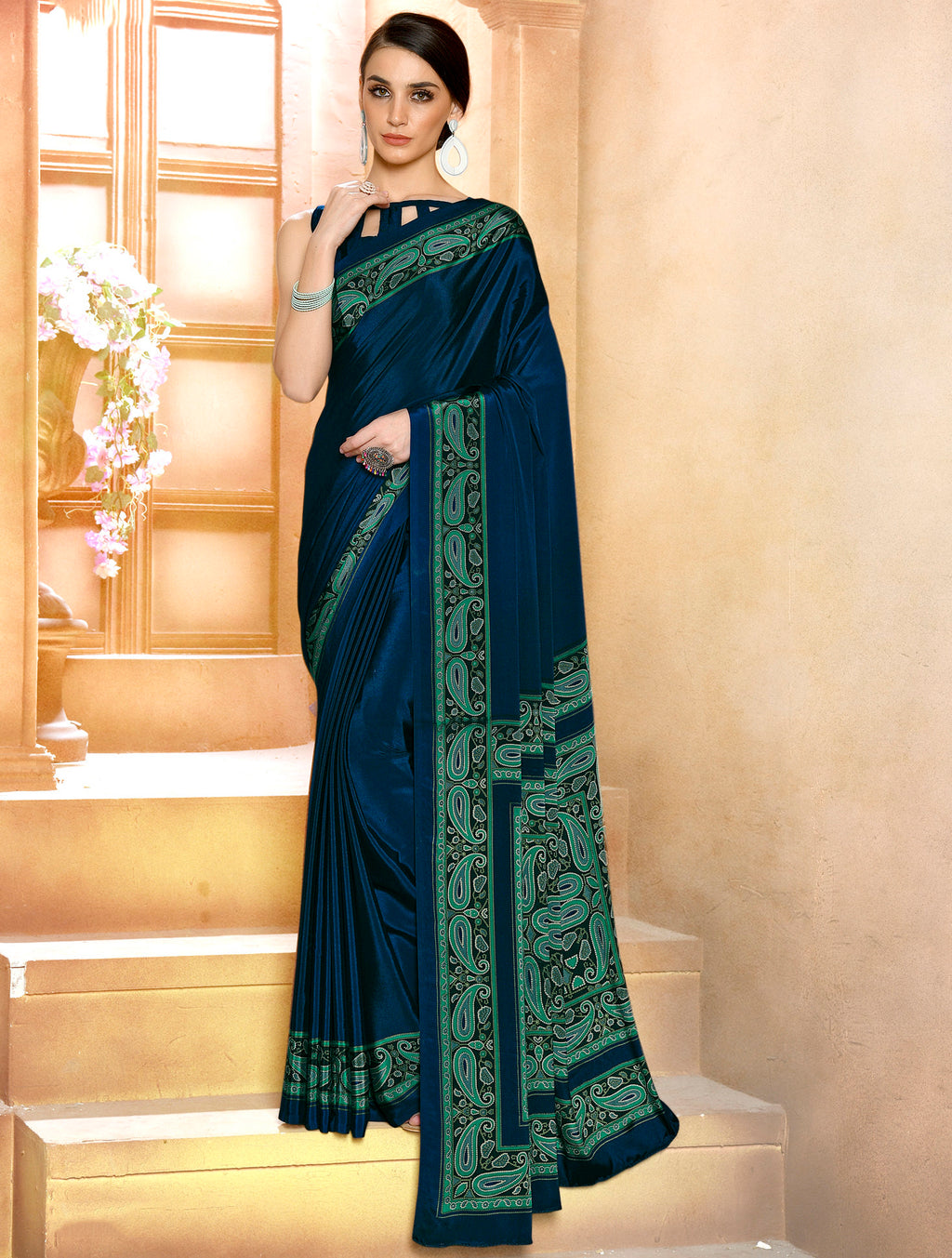 Navy Blue Color Crepe Soft & Light Weight Printed Sarees NYF-7290