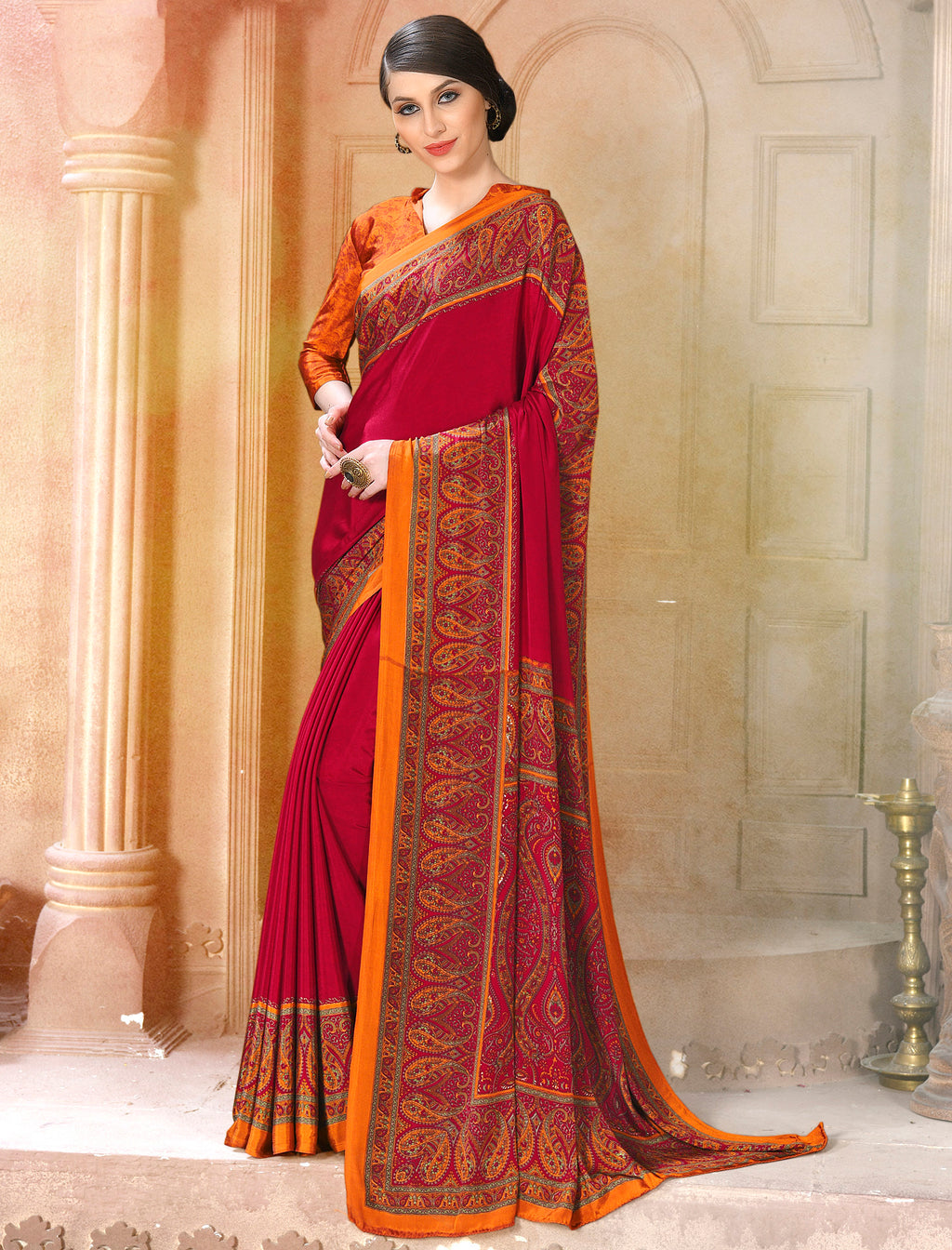 Red Color Crepe Soft & Light Weight Printed Sarees NYF-7291