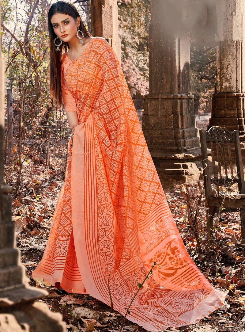 Orange Color Cotton Brasso Radiant Party Wear Sarees NYF-7365