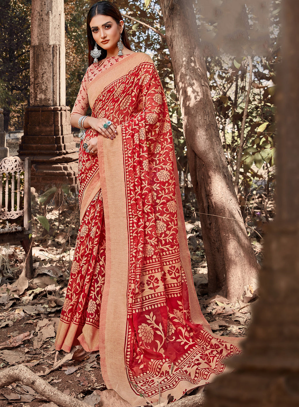 Red Color Cotton Brasso Radiant Party Wear Sarees NYF-7366