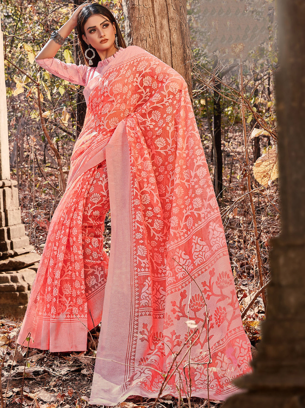 Peach Color Cotton Brasso Radiant Party Wear Sarees NYF-7368