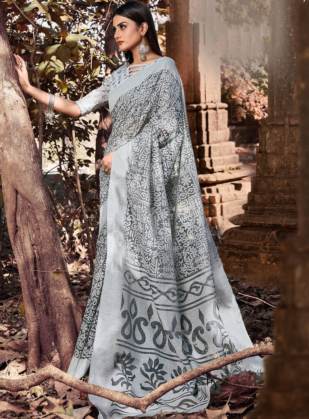 Grey Color Cotton Brasso Radiant Party Wear Sarees NYF-7369