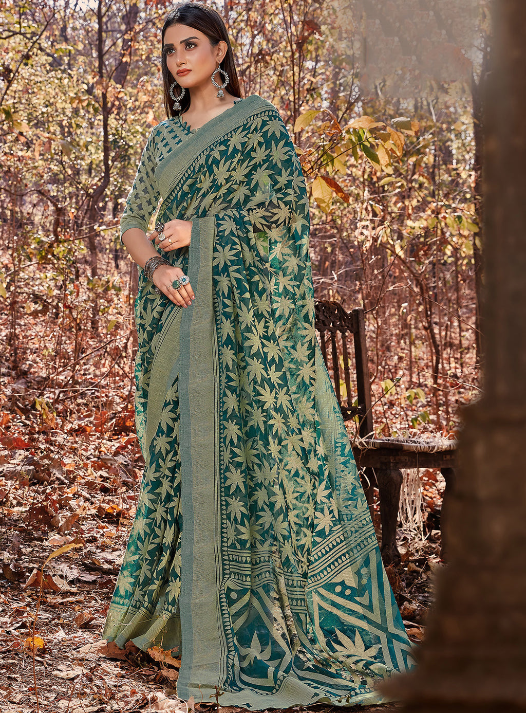 Rama Green Color Cotton Brasso Radiant Party Wear Sarees NYF-7371