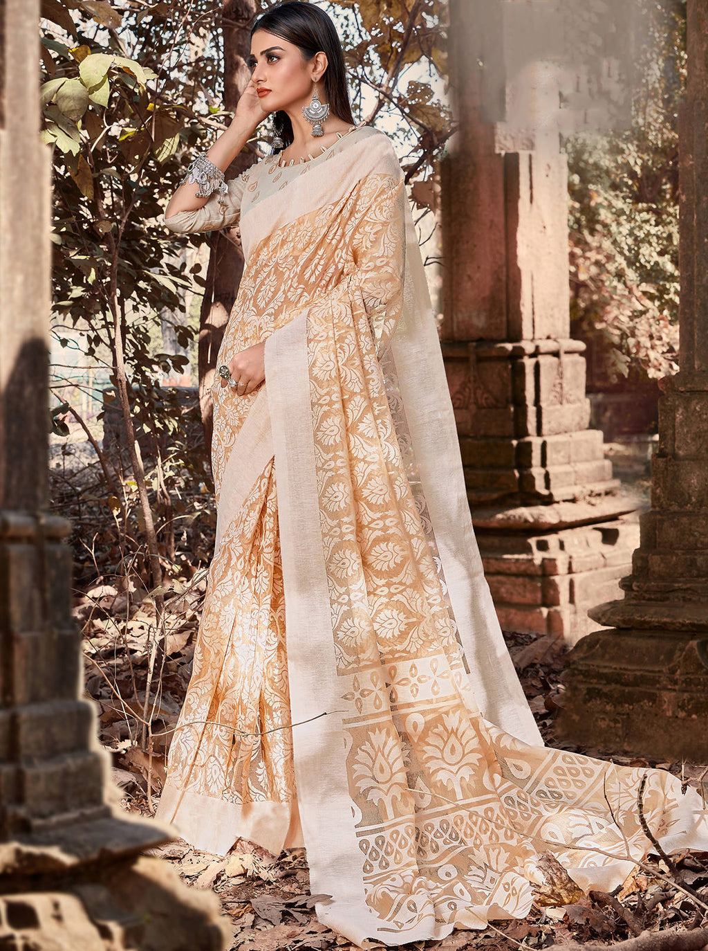 Beige Color Cotton Brasso Radiant Party Wear Sarees NYF-7372