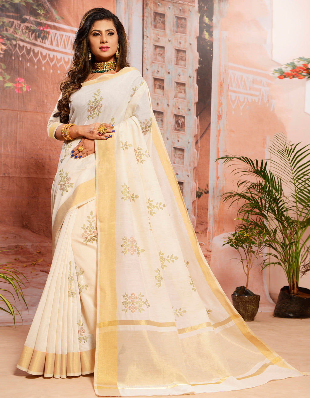Off White Color Cotton Elegant Function Wear Sarees NYF-7342