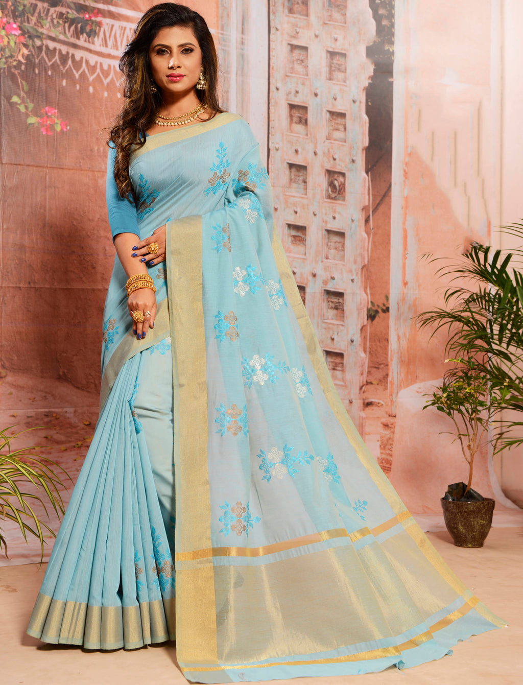 Sky Blue Color Cotton Elegant Function Wear Sarees NYF-7343