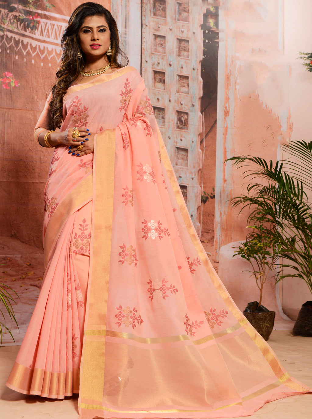 Peach Color Cotton Elegant Function Wear Sarees NYF-7344