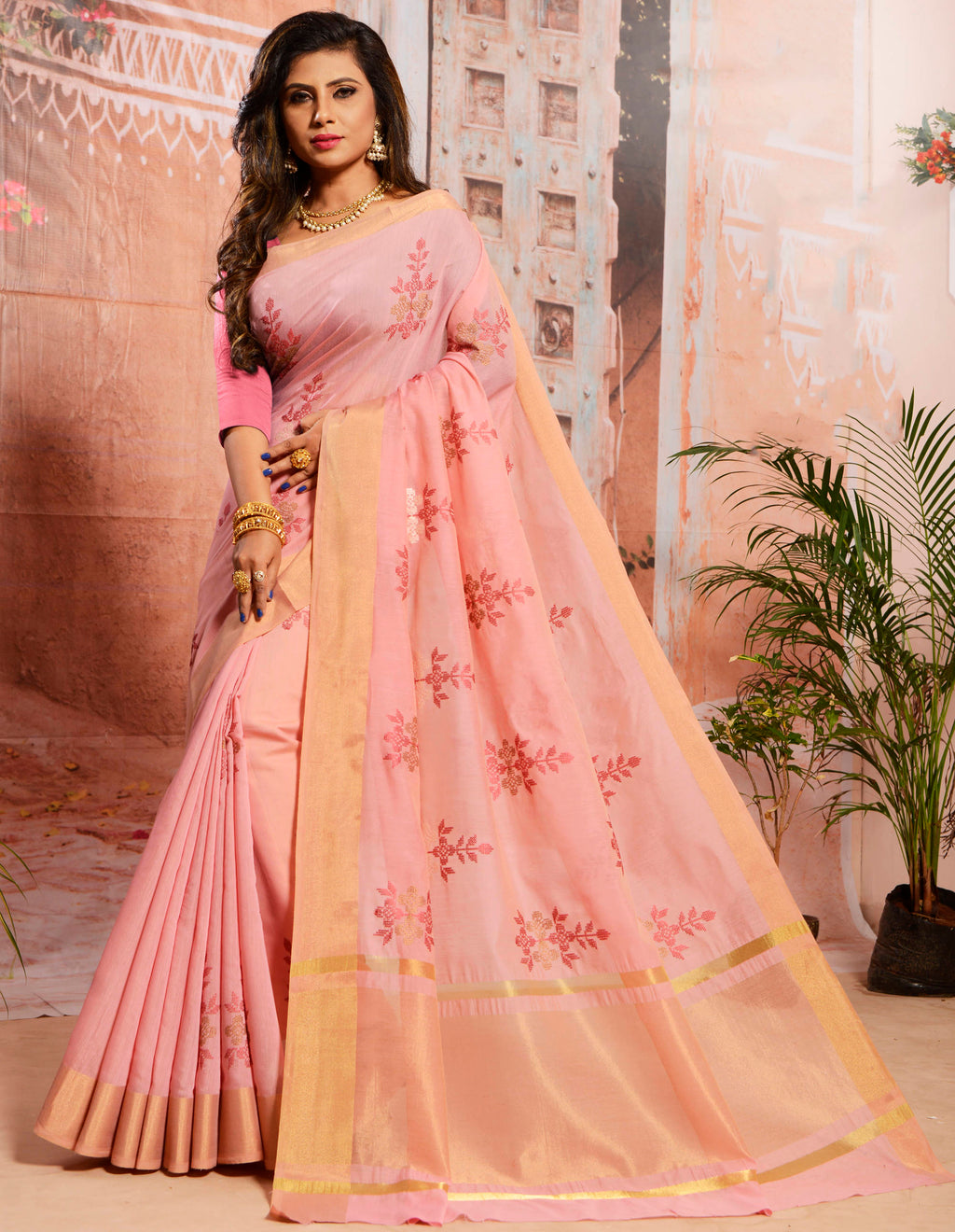 Pink Color Cotton Elegant Function Wear Sarees NYF-7345