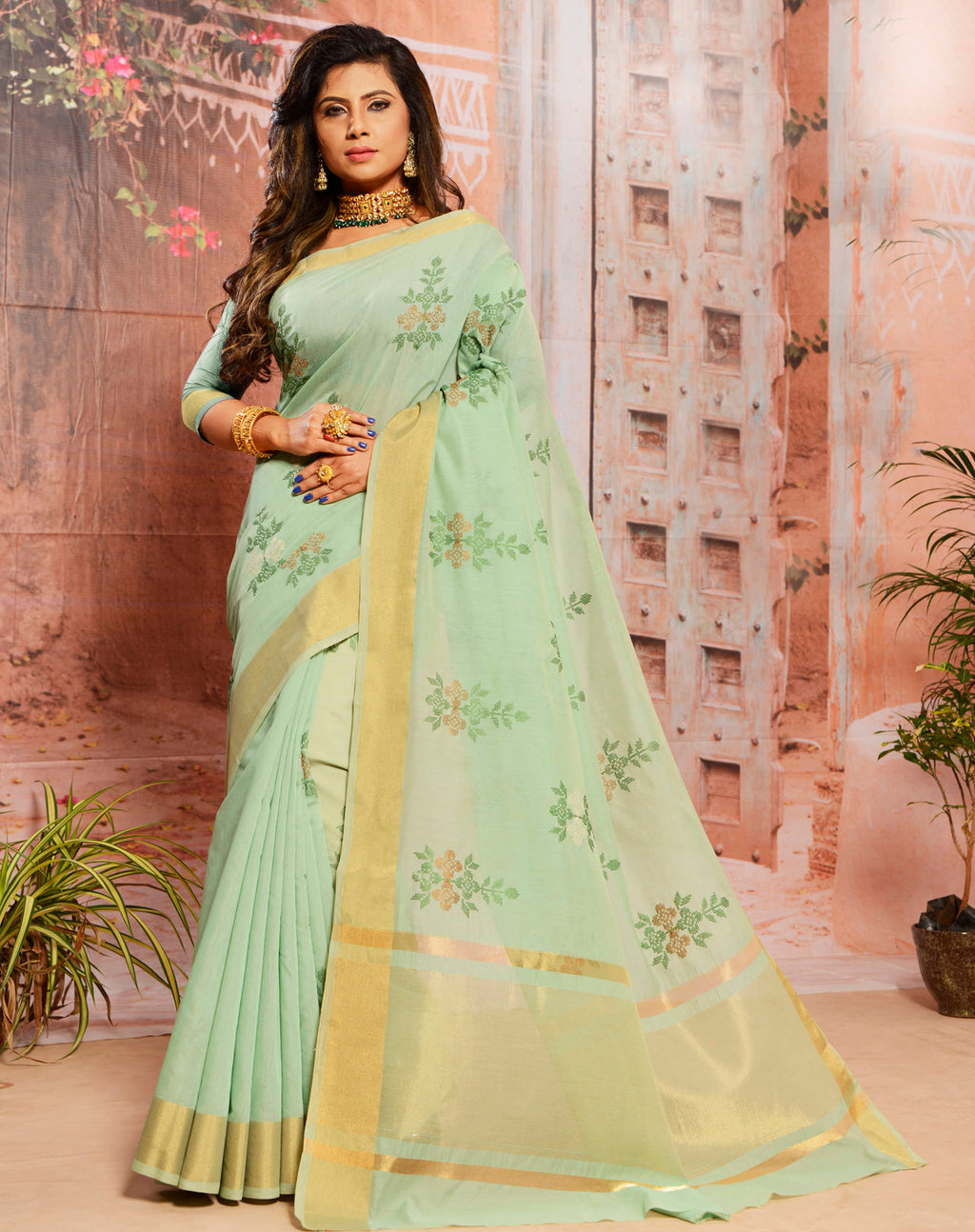 Pastel Green Color Cotton Elegant Function Wear Sarees NYF-7346