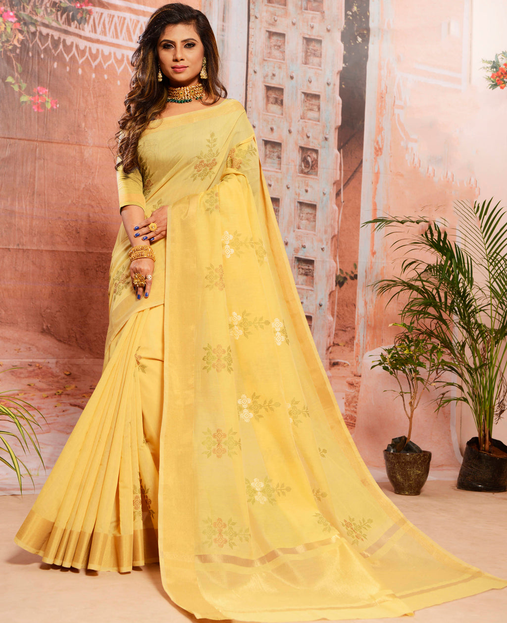 Yellow Color Cotton Elegant Function Wear Sarees NYF-7347