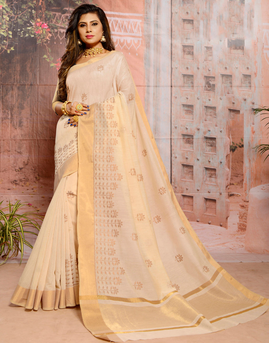 Light Beige Color Cotton Elegant Function Wear Sarees NYF-7348