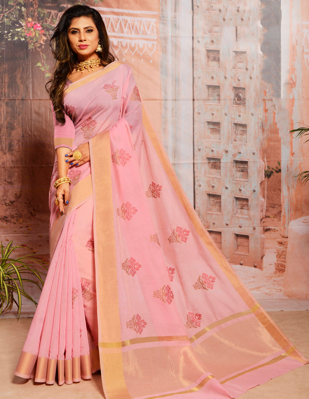 Pink Color Cotton Elegant Function Wear Sarees NYF-7349