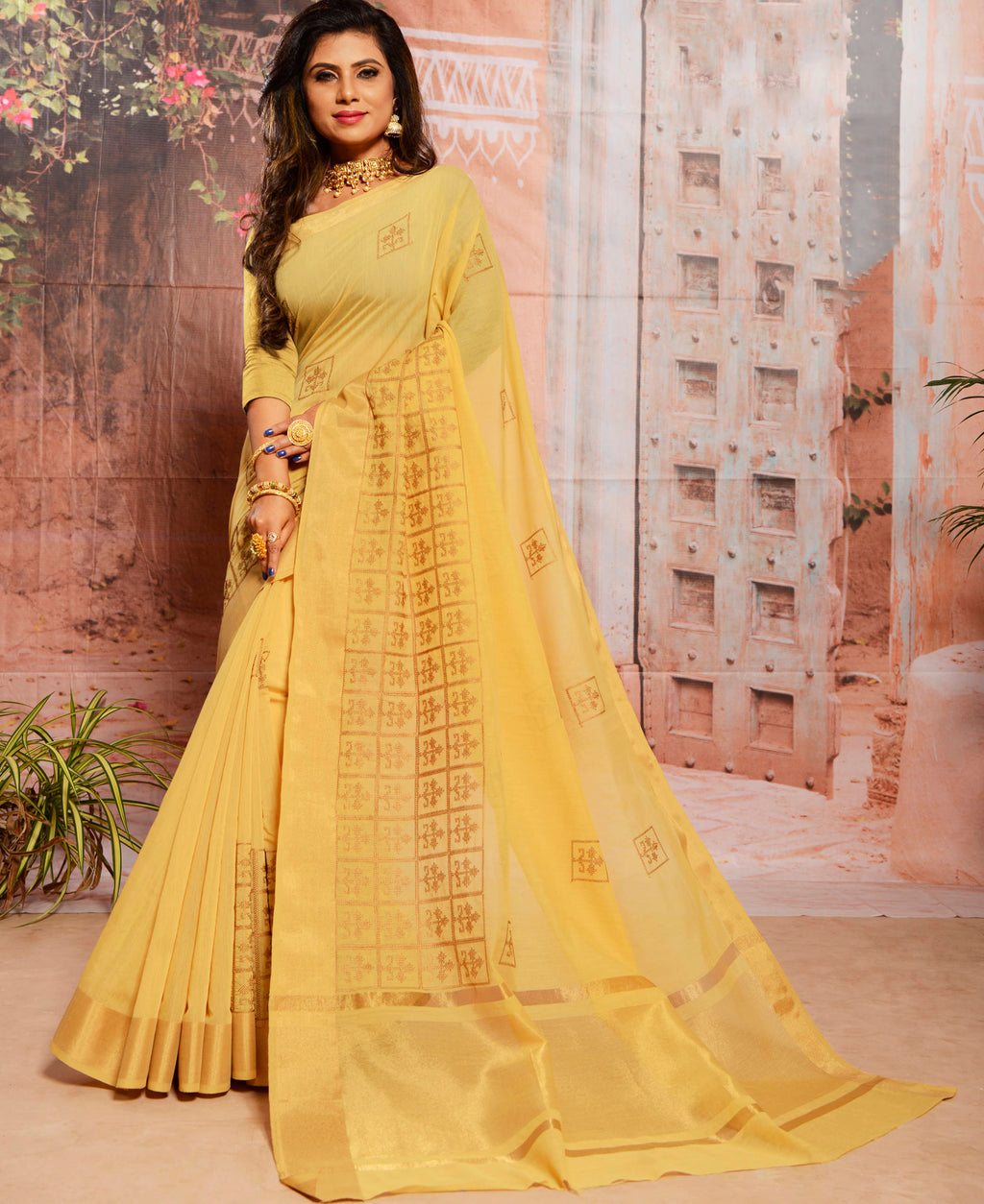Yellow Color Cotton Elegant Function Wear Sarees NYF-7350