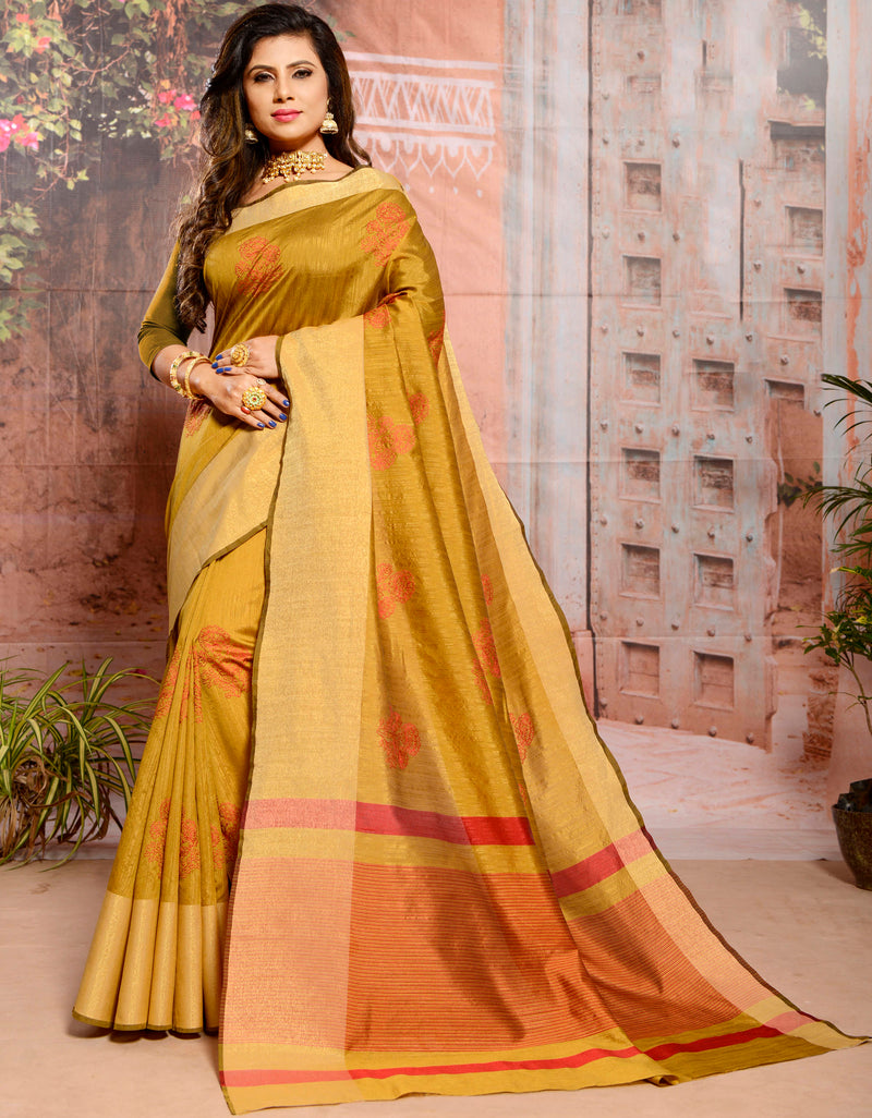 Mustard Yellow Color Cotton Silk Elegant Function Wear Sarees NYF-7356