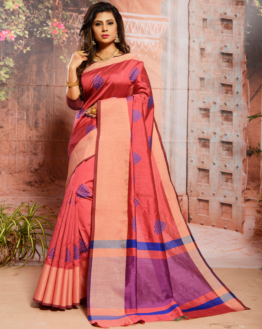 Gajjariya Color Cotton Silk Elegant Function Wear Sarees NYF-7357