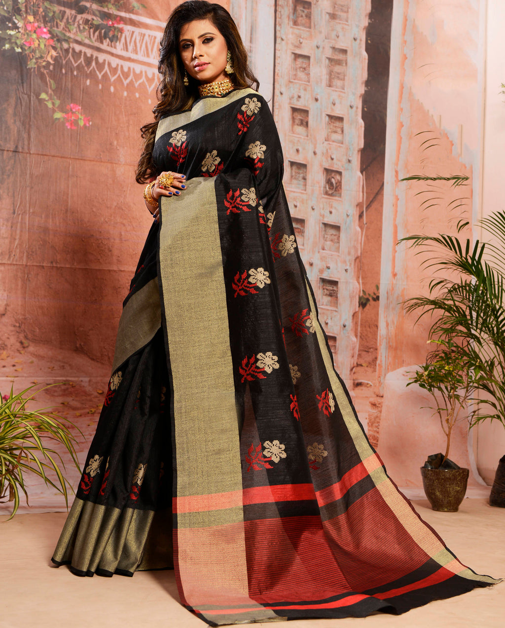 Black Color Cotton Elegant Function Wear Sarees NYF-7358