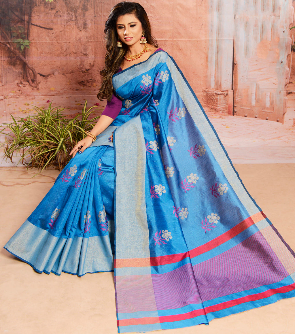 Blue Color Cotton Silk Elegant Function Wear Sarees NYF-7359