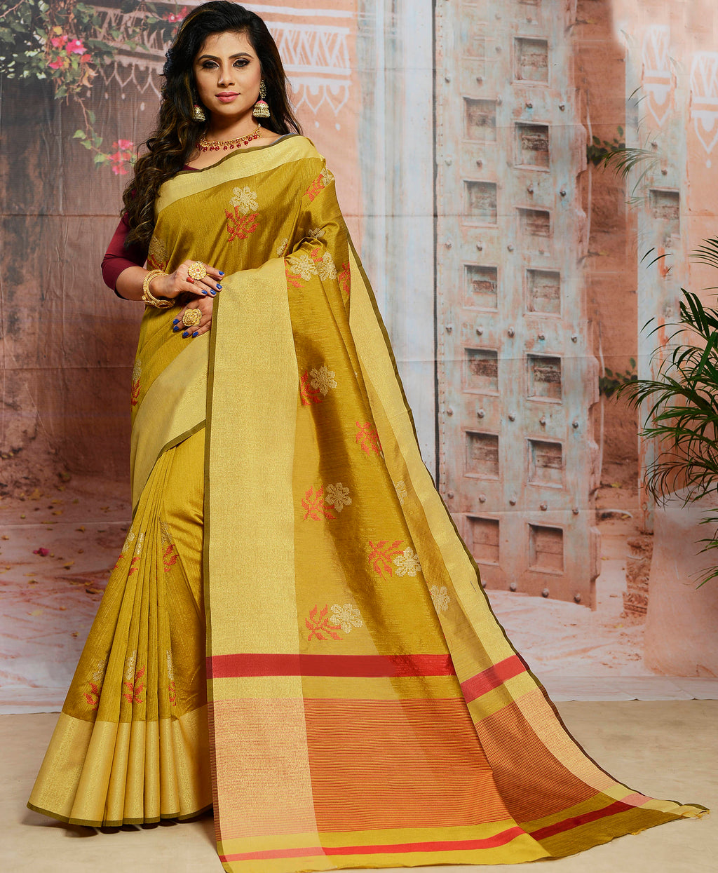 Olive Green Color Cotton Silk Elegant Function Wear Sarees NYF-7360